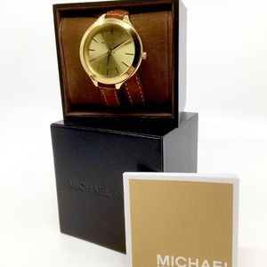 MICHAEL KORS~champagne dial~BROWN LEATHER WATCH
